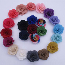 50pcs/lot 1.5″ Mini Burlap Flowers For Wedding Suits Fabric Flower Handmade Boutonniere Accessories rose flower for headbands