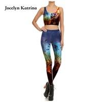 Jocelyn Katrina mujeres Top + Pantalones Delgados leggings Deportivos Pantalones de Yoga sujetador deportivo de Secado rápido sportswear yoga conjuntos