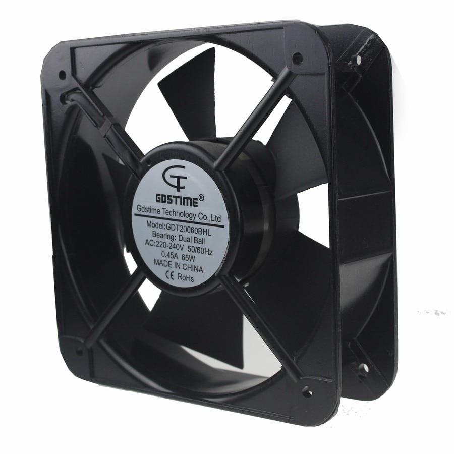 3PCS Gdstime 220V 240V 20060 200x200x60mm 20cm Metal Ventilation Case Cooling 200mm AC Fan 1piece gdstime ac 220v 240v 150mm fan 15cm 15050 150x150x50mm industrial cooling fans