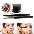 2016 2Pcs Brush+2Colors Brown Black Eye Liner Gel Cosmetic Makeup Set