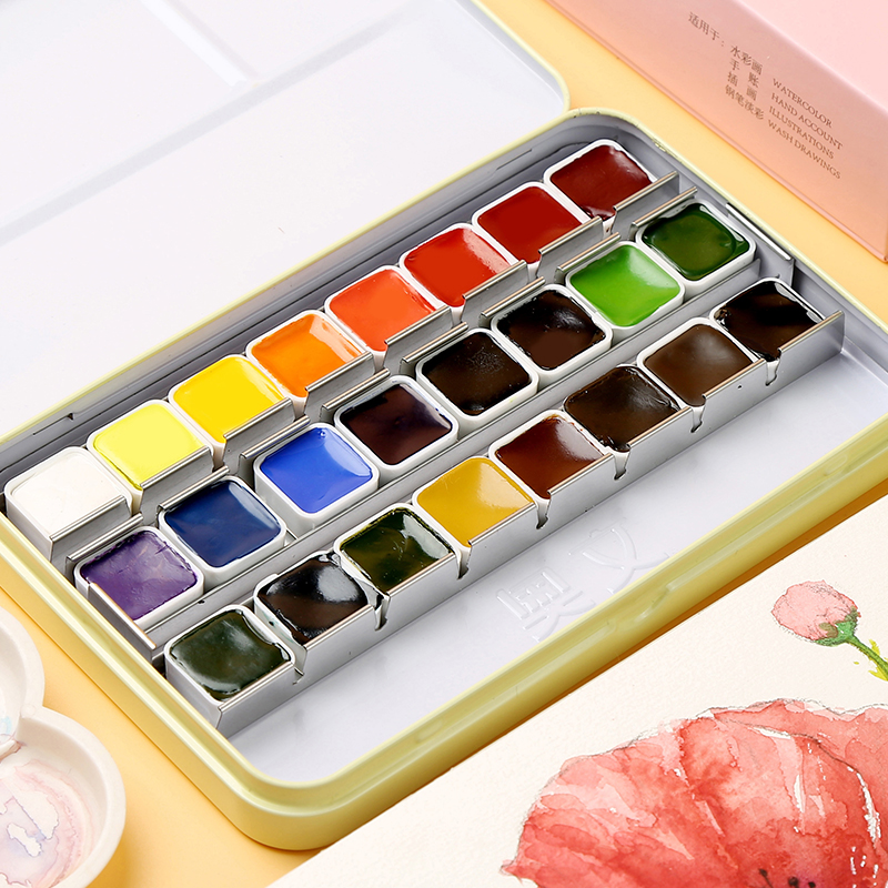 24/36Color Solid Watercolor Paint Set With Iron Box For Drawing Watercolor Pigment Watercolor Painting For School Artist Supply24/36Color Solid Watercolor Paint Set With Iron Box For Drawing Watercolor Pigment Watercolor Painting For School Artist Supply