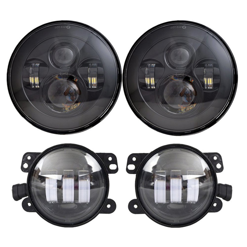 Round H4 High/Low Dual beam 40W 7 INCH LED Headlight for Jeep Wrangler JK and 4 inch led foglight Driving lamp windshield pillar mount grab handles for jeep wrangler jk and jku unlimited solid mount grab textured steel bar front fits jeep