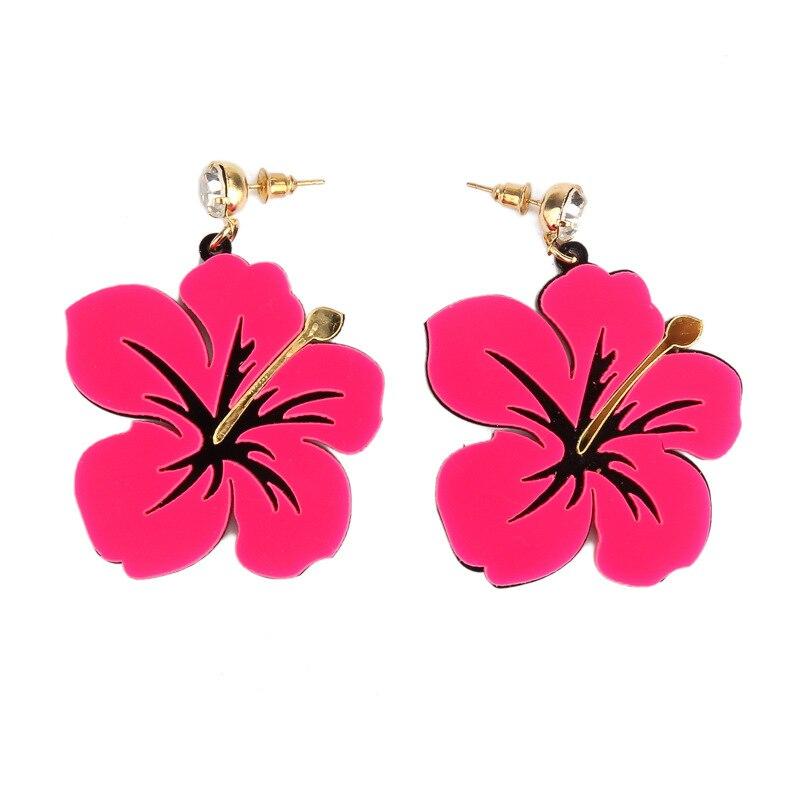 Hot Party Earrings Beautiful Blue Pink Acrylic Earrings Female Big Flower With Rhinestone Stud Earrings For Girl Brincos Aros