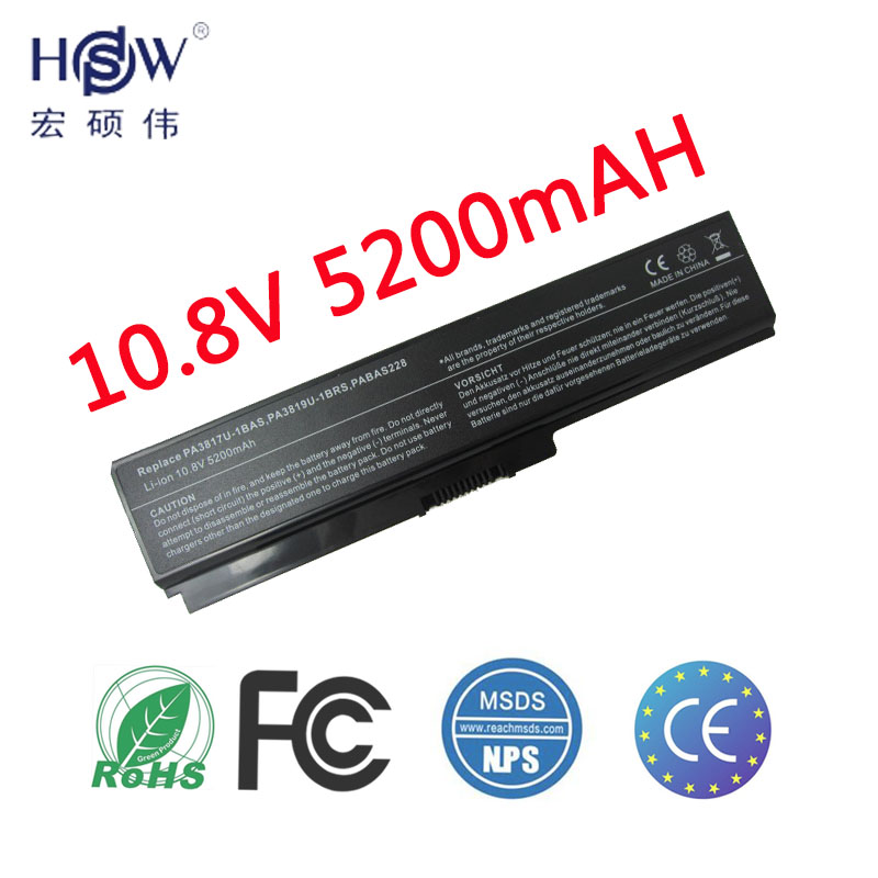 HSW 5200 mah 6 cellules batterie d'ordinateur portable pour toshiba Satellite A665D C640 C640D C645D C650 C655 C655D C660 C660D PORTABLE BATTERIE akku