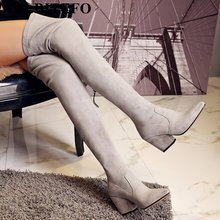 ALLBITEFO new spring autumn pointed toe thick heel women's boots Fashion over the knee high boots botas femininas femme bottes