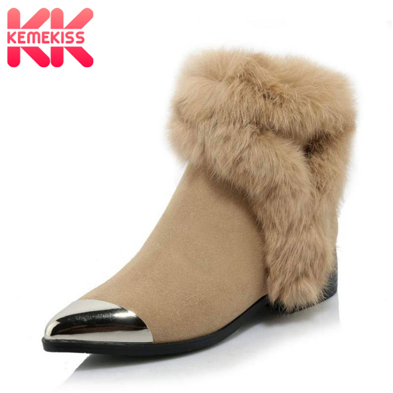 KemeKiss Fashion Winter Shoes Women Real Leather Thick Fur Booties For Women Metal Pointed Toe Boots Women Warm Botas Size 34-39 kemekiss women warm plush warm snow boots for women thick platform ankle botas female thick fur winter footwear size 36 40