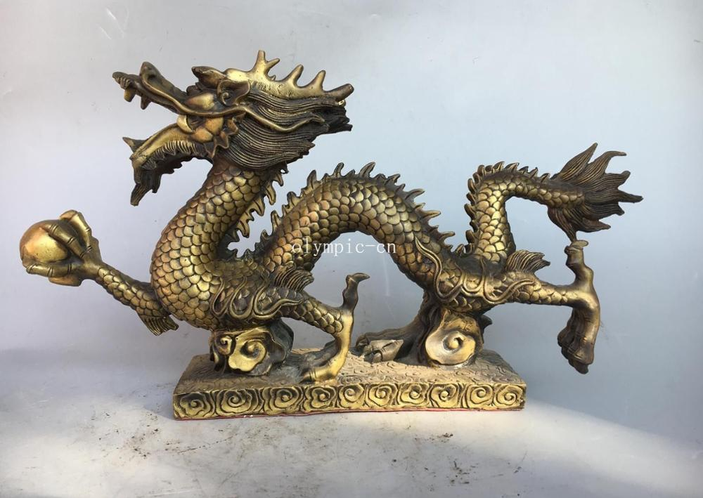 19 Fine brass carved auspicious clouds chinese Beast Dragon play ball statue19 Fine brass carved auspicious clouds chinese Beast Dragon play ball statue