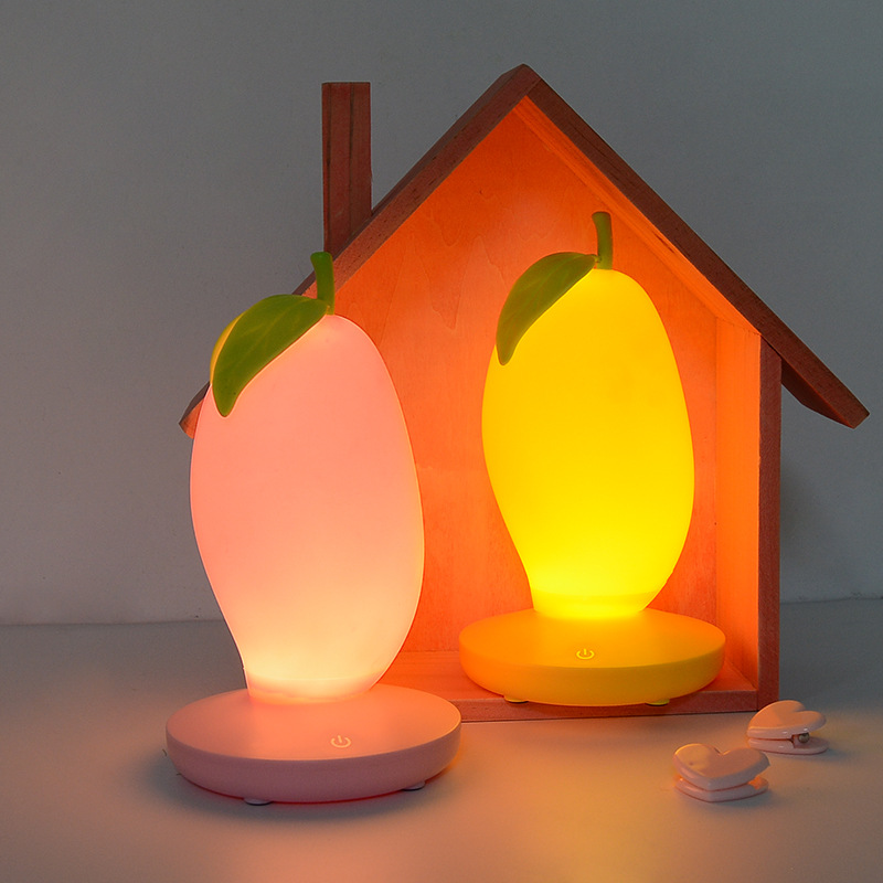 USB Charging Lamp Three stop Dimming Mango Night Light Creative Bedroom Urinate Lamp Touch Induction Fruit LED Silicone Lights in LED Night Lights from Lights Lighting