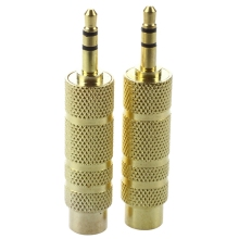 2 Pcs Gold Plated 3.5mm Stereo Male to 6.3mm Audio Mono Female Adapter