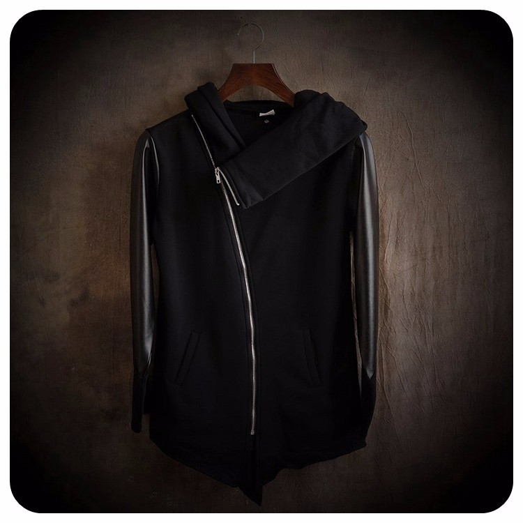 Cultivate Morality Fashion Men Hoodies Leather Sleeve Splicing Inclined Zipper Hooded Big Yards Fleece Jackets 2