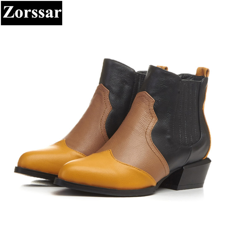 {Zorssar} 2018 NEW Large size Women shoes pointed Toe Flat heel ankle Martin boots Genuine Leather Flats womens boots winter 2016 leather shoes female autumn winter new flat heel round toe ankle boots tide martin boots women flat bottomed tassel boots