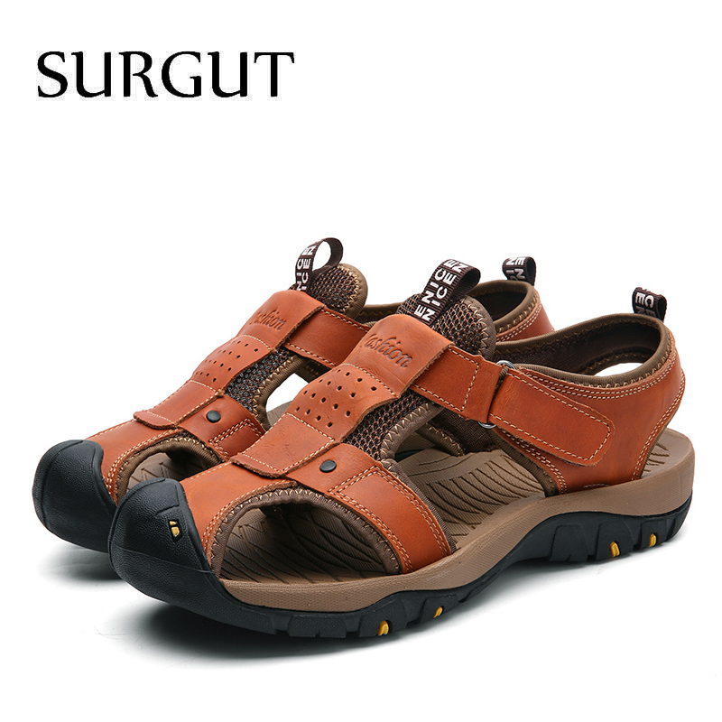 Image 5 - SURGUT Summer New Sandals Men Leather Classic Roman Sandals 2019 Slipper Outdoor Sneaker Beach Men Water Trekking Casual Sandals-in Men's Sandals from Shoes