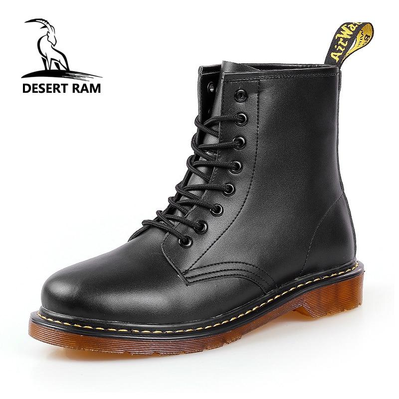 DESERT RAM Brand Men's Boots Martens Leather Winter Warm Shoes Motorcycle Mens Ankle Boot Doc Martins Autumn Men Oxfords Shoe
