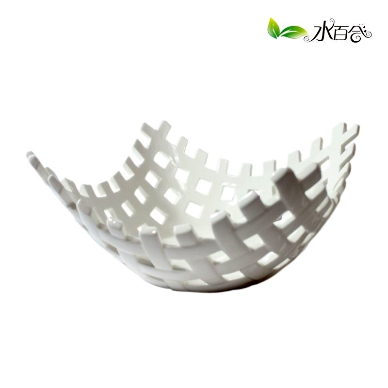 Water Lily Ceramic Fruit Plate White Bowl Basket C Rustic Fashion