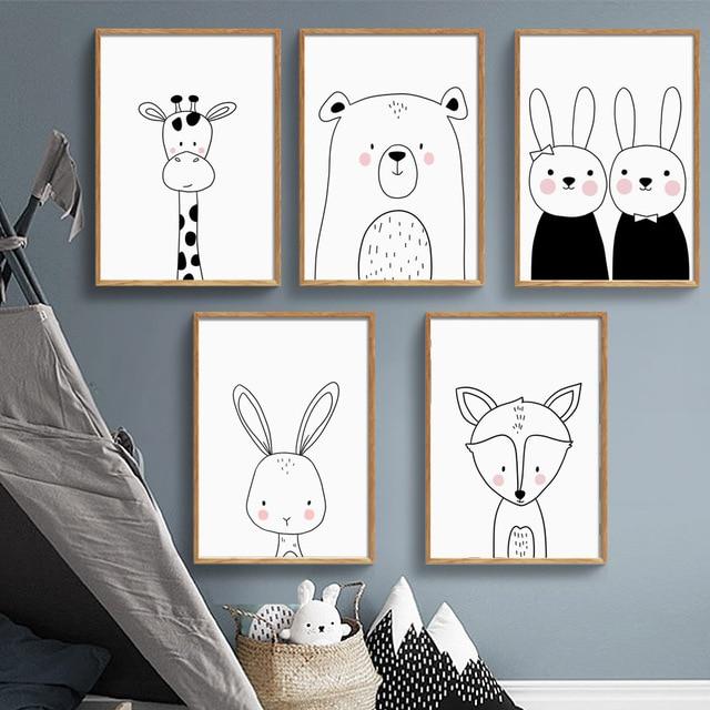Giraffe Rabbit Bear Fox Nursery Art Prints  1