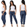 High Quality Light/Dark Blue Elastic Waist Pants Women Casual Trousers Loose Dance Joggers Long Pants S-XL