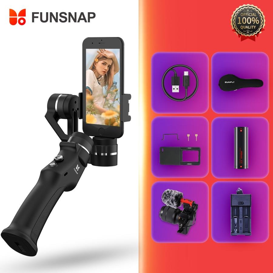 Funsnap Capture 3 axes stabilisateur de cardan portable pour Iphone 6 7 8 Plus GoPro 6 SJcam XiaoMi 4 k caméra d'action pas DJI OSMO 2
