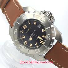 45mm parnis black dial orange marks miyota automatic movement mens watch
