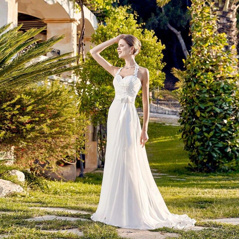 2017 New Arrival Simple Beach Chiffon Wedding Dresses