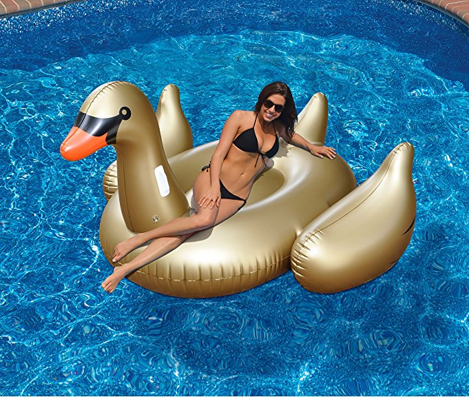 70inch 190cm Golden/Black/White Giant Swan Pool Float Inflatable Flamingo Ride-On Summer Water Fun Toys For Kids Adult Piscina