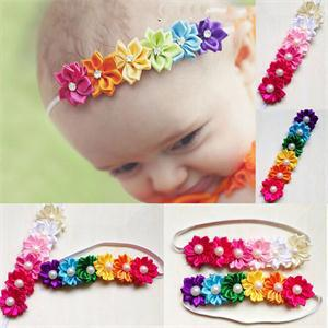Rainbow Pearls Crystal Hairband Soft Elastic Colorful Flower Hair Accessories Kids Photography Headwear