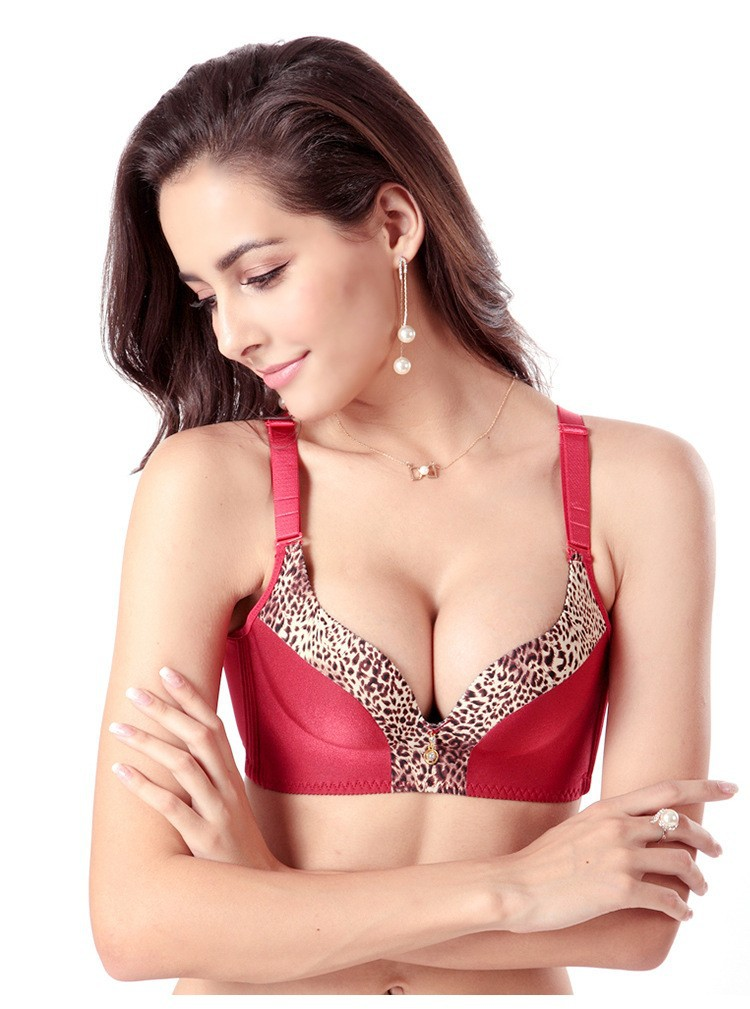 f19d27fa8 Best gifts for valentine s day Brand new ladies red bra Sexy women  brassiere deep v-neck Seamless wire free Leopard push up bra