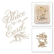 Peace on Earth HOT FOIL PLATE Silver Metal Cutting Dies DIY Photo Embossing Die Scrapbooking Stencils Hot Stamping Foil