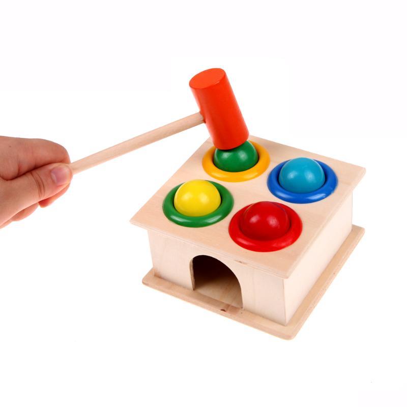 Constructief Houten Ball Plezier Spelen Hamer Doos Speelgoed 2018 Kinderen Vroeg Leren Educatief Speelgoed Baby Kleurrijke Hameren Houten Bal Speelgoed Producten Hot Sale