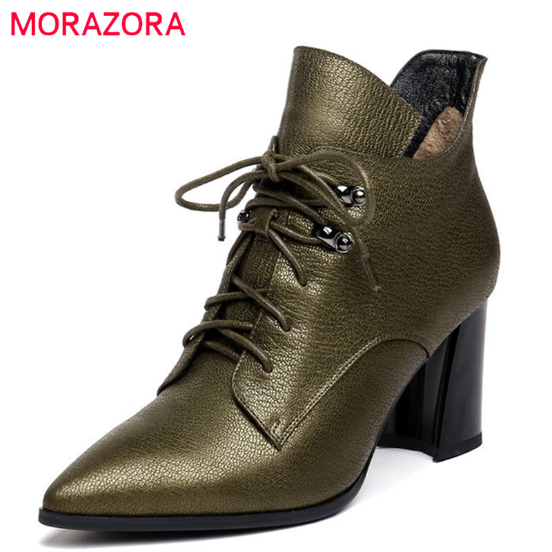 цена на MORAZORA 2018 genuine leather ankle boots women pointed toe lace up +zipper fashion high heels dress shoes winter boots female