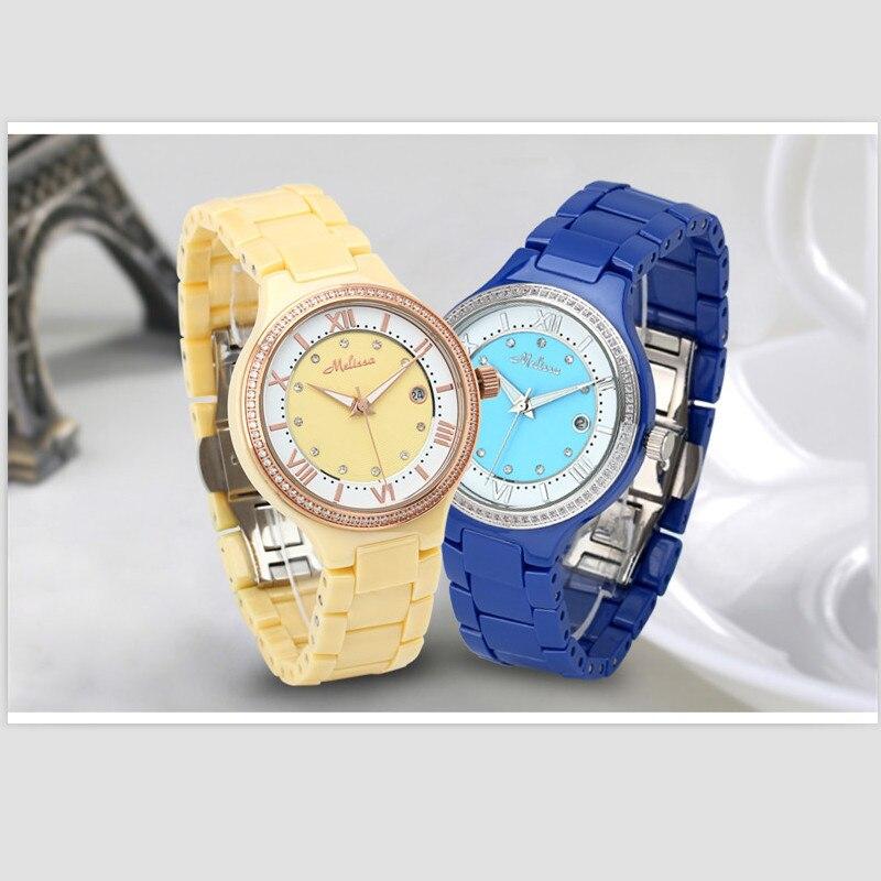 Marca de Luxo Cheio de Cerâmica Relógios de Pulso de Quartzo Melissa Mulheres Relógio Jóias Novel Real Amarelo Cerâmica Pulseira Roman Montre