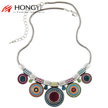 Fashion Colorful Charms Resin Crystal Beads Pendant Necklace Chunky Chain Statement Necklaces for Women Vintage Noble