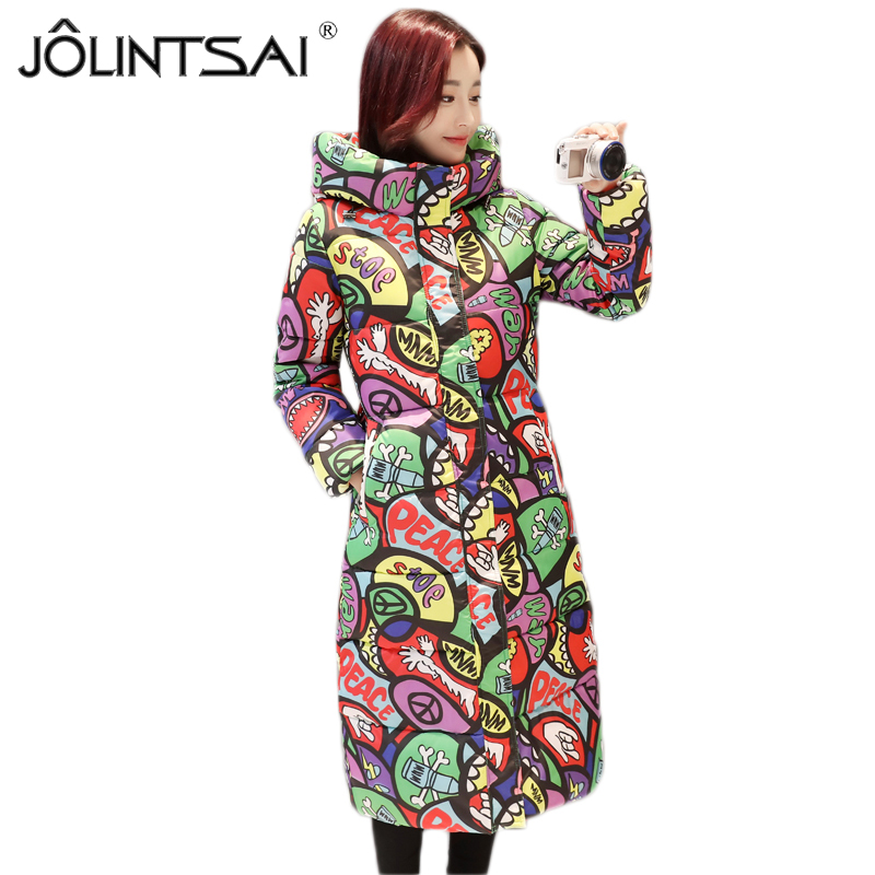 JOLINTSAI 2017 New Autumn Winter Coat Women Padded Cotton Plus Size Slim Jacket Printing Hooded Coats Women Fashion Overcoats 2016 new fashion autumn winter women basic jacket coat female slim hooded brand cotton coats