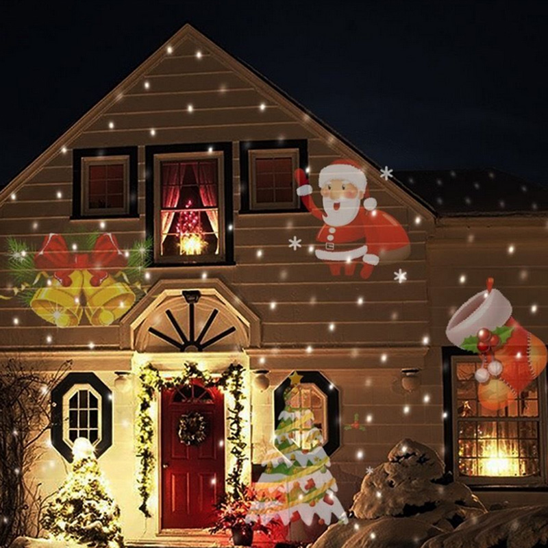 12 types christmas laser snowflake projector outdoor led for Decorations noel exterieur maison