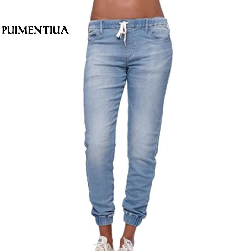 Puimentiua 2018 Brand Women Elastic Waist Casual Denim   Jeans   Women High Waist Blue Black Pants Female Thin Skinny Pencil   Jeans