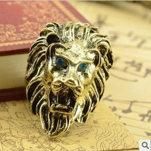 Fashion Jewelry Vintage Charm Lion Head Ring For Men And Women