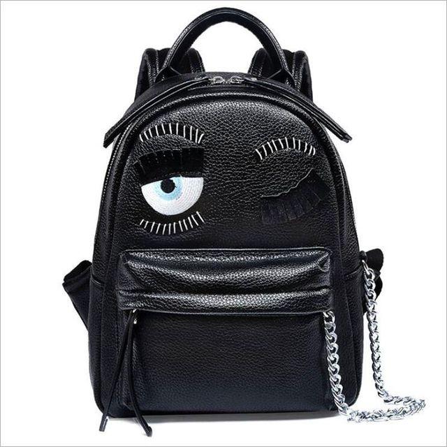 65bbb8c4a9ec cartoon demon eyes backpack famous brand monster women leather backpacks  metal chain school bag for teenagers travel backpack
