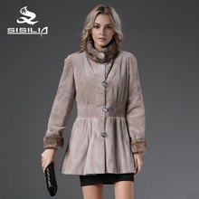 SISILIA 2016 NEW STYLE FUR PARKA CHINA MINK FUR COAT BOTH WEARING 100% NATURAL FUR COAT HIGH QUALITY  76cm Length SELL WELL