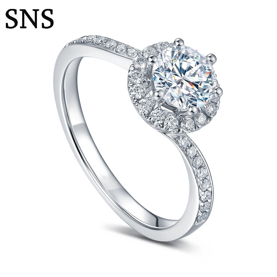 14k Solid White Gold Wedding Ring 0.3 ct Round Cut Natural Diamond Real Gold Wedding Ring for Women Solitaire with diamond 18k white gold 1 ct heart shaped wedding ring for lady solid silver synthetic diamond ring for women bb