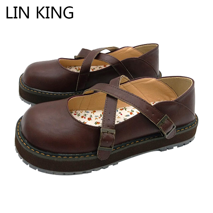 LIN KING Round Toe Cross Tie Buckle Strap Women Wedges Shoes Comfortable Solid Buckle Lady Lolita Shoes Sweet Casual Party Shoes