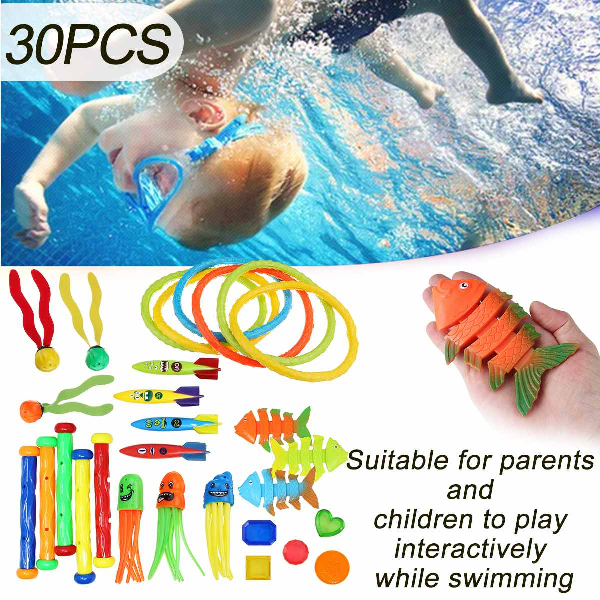 30Pcs Summer Playing Swimming Pool Throwing Diving Toys Underwater Rings Diving Circle Set Multicolor Game Beach Toy