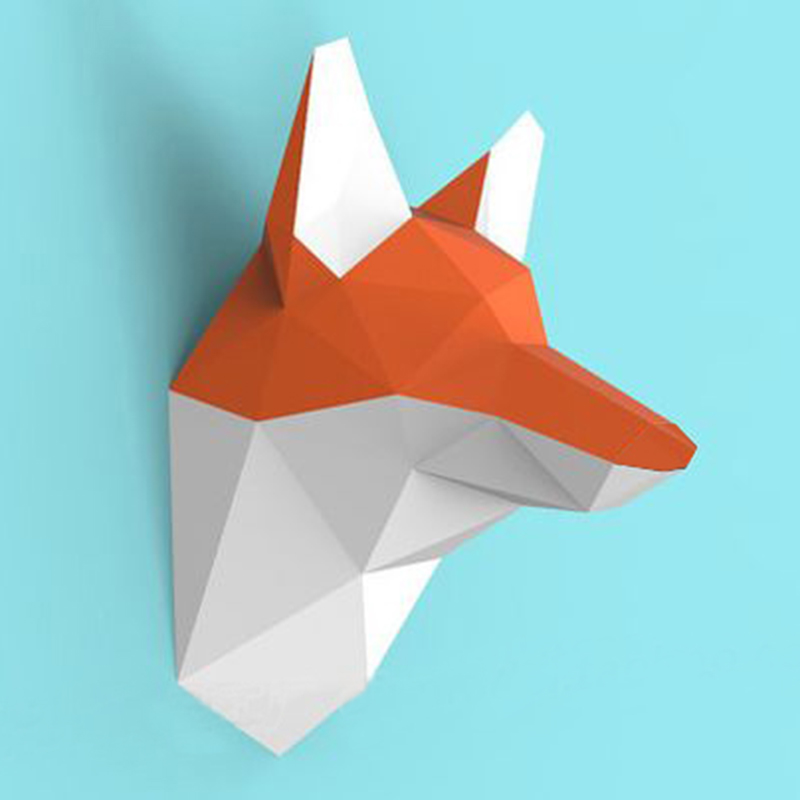 DIY Home Decoration Cute Fox Head Paper Model Puzzles Toy Animal For Restaurants Store Bar Waterproof Educational Folding Model