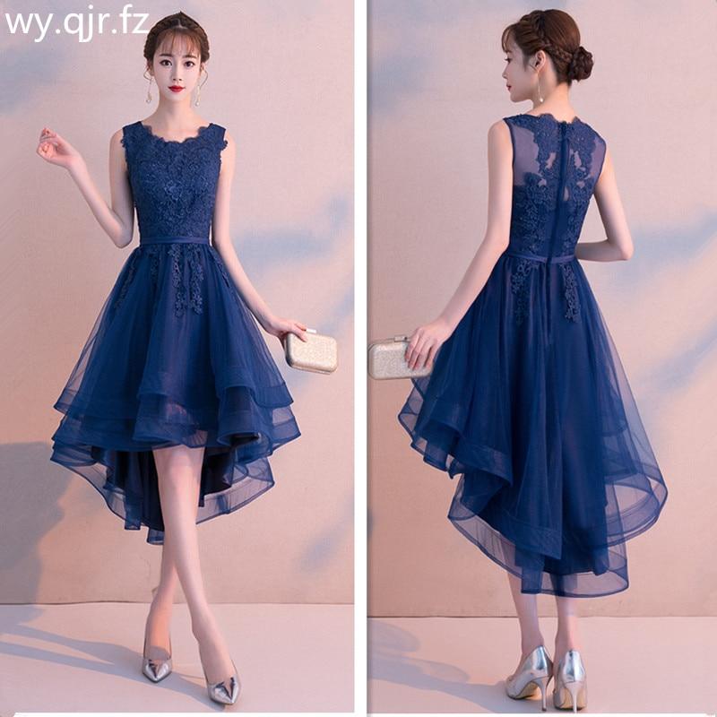 MLS100 Front short back length dark blue wine red lace short Bridesmaid Dresses wedding party dress