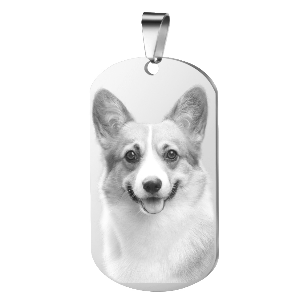 Personalized Customized Pictures Image Pendant Necklace Stainless Steel Engraved 2 Sides Tag Text Photo Key Chains image