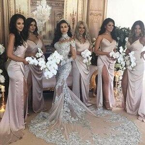 Image 2 - Manches longues perles de luxe robes de soirée formelles sirène fête Dubai femmes dentelle cristaux robes de soirée de bal