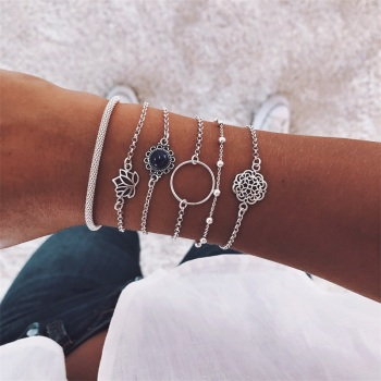 6 Pcs/ Set Retro Female Lotus Bead Round Gem Chain Hollow Multilayer Silver Bracelet Set Exquisite Party Clothing Jewelry