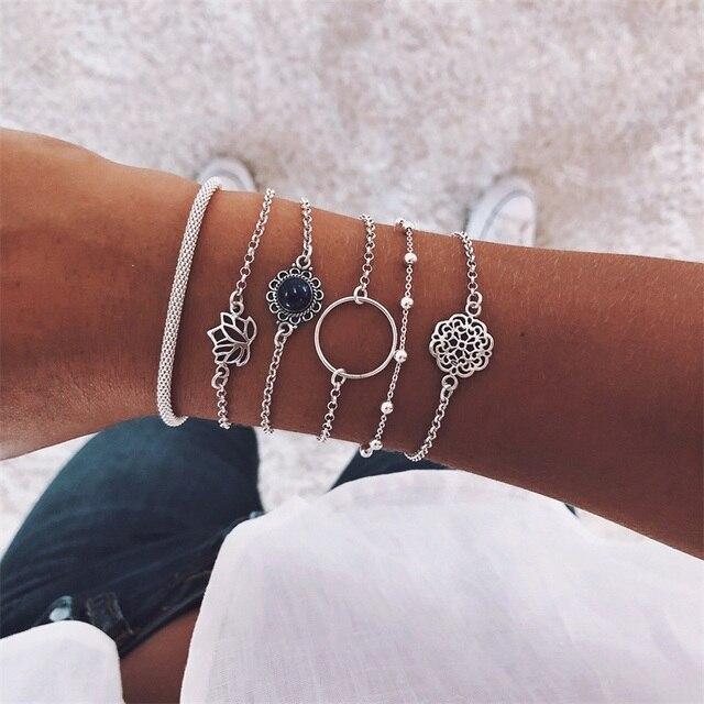 6 Pcs/ Set Retro Female Lotus Bead Round Gem Chain Hollow Multilayer Silver Bracelet Set Exquisite Party Clothing Jewelry