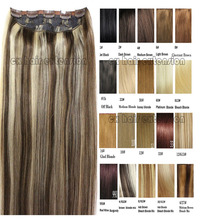 #4/613  free shipping 1pcs full head set  clip in on  Brazilian Virgin remy human hair extensions  26 colors available
