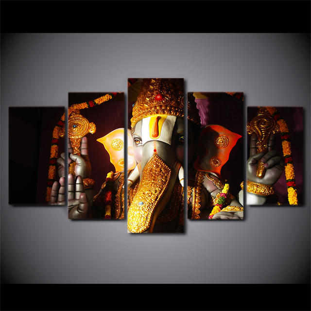 HD Print 5pcs Wall Art Pictures Home Decor Art Ganesha Poster Elephant  Ganesh India Religion Lord