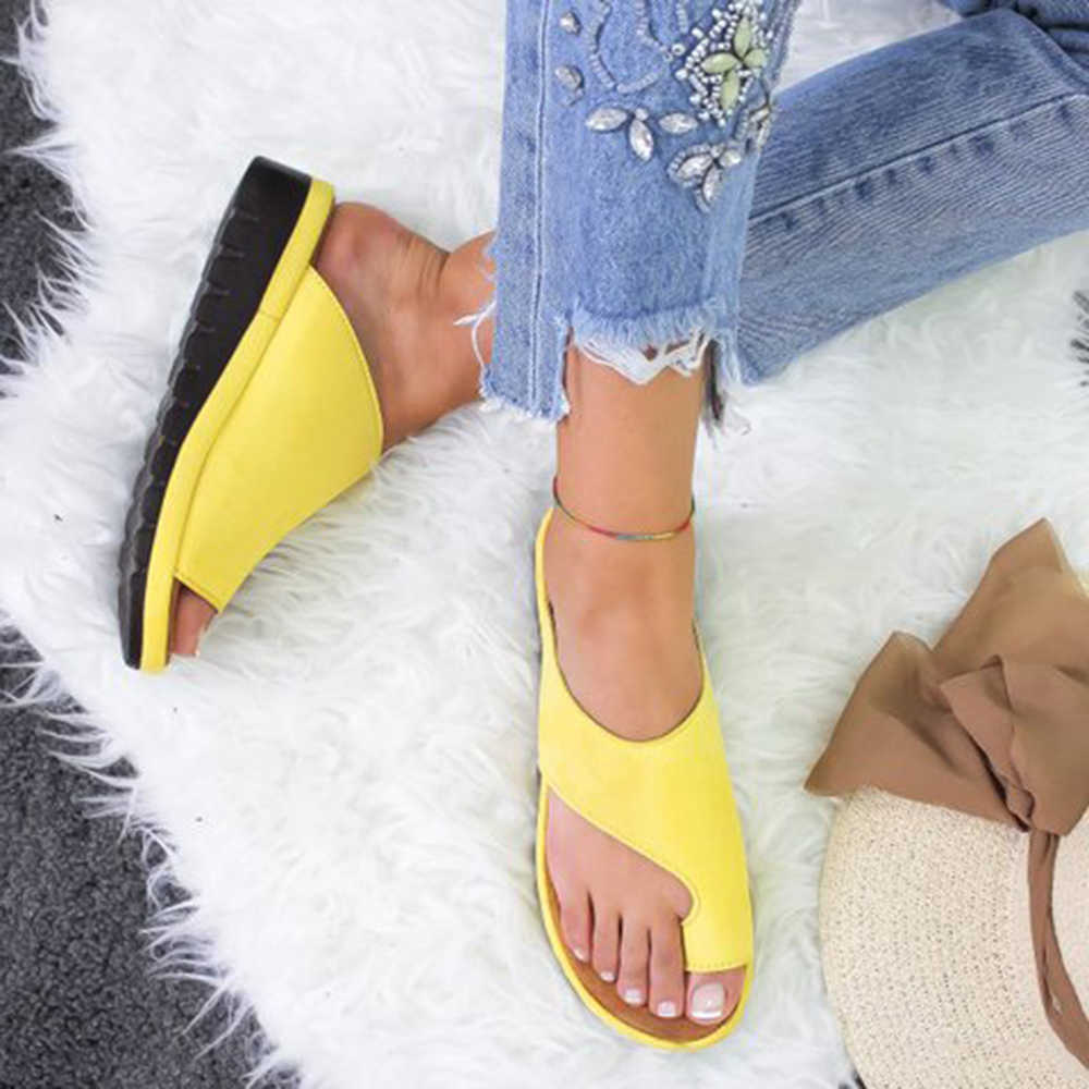 MoneRffi Summer Comfortable Outdoor Klapki Damskie  Lato -heel Sandals Shoes Woman Wedge Slippers Soft Bottom Sandals