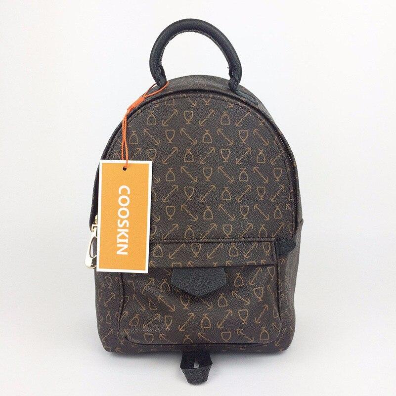 COOSKIN New Design monogram canvas Women Backpacks children Mini School Bags Students Palm Springs Backpack Ladies MM Bag